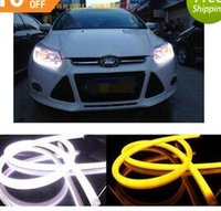 Wholesale car styling X60cm White Yellow Flexible Headlight Daytime Lamp Switchback Strip Angel Eye DRL Decorative Light With Turn Signal