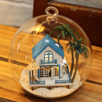 Wholesale DIY Wooden Romantic Love Sea House Miniature D Toy Doll House Voice Control LED Light Crystal Glass Ball Kids Educational Toys