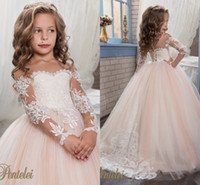 ball pink - Princess Vintage Beaded Arabic Flower Girl Dresses Long Sleeves Sheer Neck Child Dresses Beautiful Flower Girl Wedding Dresses F064