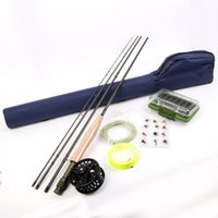 Wholesale Fly Rod Fly Reel Combo FT WT Fly Fishing Rod Line Backing Flies Box Loop Tapered Leader Fishing Outfit