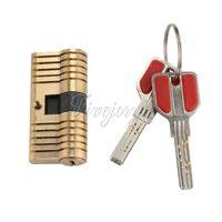 anti theft doors - Door Lock Cylinder Locks Solid Brass Lock Security Safe Training Tools Locksmith Tools Key Anti theft Door Lock Security Keys