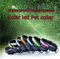 dog collars and leashes - Environmental Power Solar Rechargeable Pet Dog LED Collar and Leash USB Waterproof Reflective Sizes S M L Colors