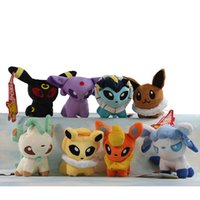 Wholesale 14cm Poke Plush Toys inch set Umbreon Eevee Espeon Jolteon Vaporeon Flareon Glaceon Leafeon Animals Soft Stuffed Dolls EMS C1096
