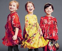 american state flowers - Europe and the United States style Children flowers printed dress Girls short sleeve party dress kids princess dress wlmonsoon dress A9758
