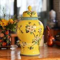 antique storage jars - Antique Chinese ceramic General storage Jar hand painted Ceramic tea jar for home Decoration