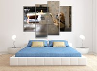 bedding frames - LK4222 Panel Modern Cute Dog Oil Painting On Canvas Wall Art The Picture Print On Canvas For Home Resturant Kitchen Hotel Sitting Room Bed