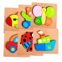 Wholesale Kids Animal d puzzle High quality Beech Wood educational toys for children puzzles for children wooden toys