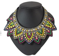 Wholesale Pendant Chain Jewelry Women Bib Statement Crystal Beaded Collar Necklace Choker