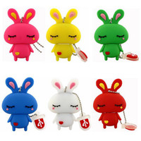 Wholesale Cute PVC Rabbit USB Memory Flash Stick Pen Drive USB Real GB GB GB GB Colorful USB Memory Flash Sticks