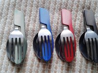 Wholesale 60 Outdoor camping supplies Multi functional multi purpose Spoon Fork knife tableware portable tools