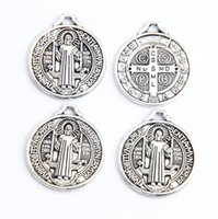 antique medals - 25x22MM Antique Silver Saint Benedict Medal Cross Charms Fashion Jewelry DIY L1643 Super very hot Charms
