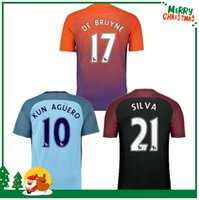 Wholesale 2016 Manchester DE BYUYNE STERLING KUN AGUERO KOMPANY soccer Jersey City home away football shirts
