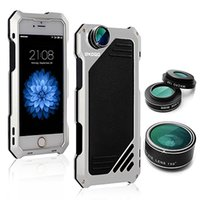 Wholesale Case For iPhone Lens Kit in Fisheye Macro Wide Angle Camera Lens Dustproof Shockproof Aluminum Case Inches