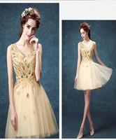 Wholesale Celebrity Dresses Golden Online Cheap Evening Gowns Vestidos de Noche Baratos Short V Neck Lace Up Graceful Ball Gowns Cocktail Dresses