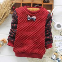Wholesale Children Baby Sweater Autumn Winter Korean Plaid Thicken Velvet Boys Sweaters with Bow Long Sleeve Tops Warm Pullover Sweater Hoodies