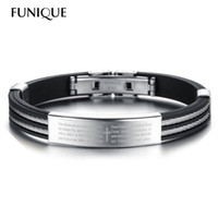 bible pattern - FUNIQUE Stainless Steel Adjustable Men Bracelets Bible Cross Pattern Silicone Allergy Free Fashion Cool Summer Style Jewelry PC