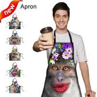 Wholesale Funny monkeys D lifelike printing sleeveless hanging neck anti oil x67cm kitchen coffee bar club Party personality Apron MOQ set