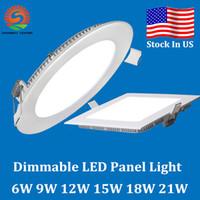 achat en gros de led panel light-Dimmable 9W / 12W / 15W / 18W / 21W CREE Led plafonniers encastrés Lampe chaud / Natural / Cool White Super-Thin Led lumières panneau rond / carré US Stock