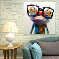 Wholesale Wear Glasses Frog Hand painting Oil Painting On Canvas Large Abstract Cartoon Paintings Wall Decoration JL333