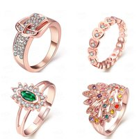 Wholesale Mixed order Fashion accessories The crystal rose gold rings women s jewelry