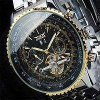 Prezzi Maglia cielo giallo-Gli uomini guardano Nuovo 2016 JARAGAR lusso Funzione Mens automatica Tourbillion multi vigilanza di orologi meccanici regalo da polso