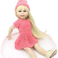 Wholesale 18 inch Handmade Full Vinyl American Girl Fashion Reborn Toys Chilldren Birthday Gift Valentine s Day Dolls Blond