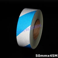 Wholesale mmx45M Blue amp Silver Stripe Reflective Film Self adhesive Tape Reflective Tape Sticker For Truck Car Motorcycle Warning Tape