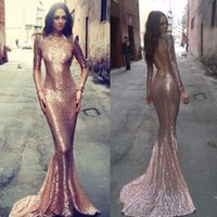Wholesale 2016 High Neck Rose Gold Sequin Mermaid Evening Dresses with Long Sleeves Court Train Backless Celebrity Party Gowns New Arrival
