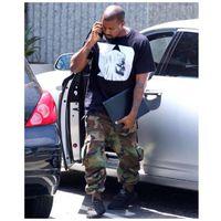 big feet men - 2016 NEW Kanye West SEASON Camouflage overalls Jogging pants hiphop army green Big pocket Beam foot trousers Pants