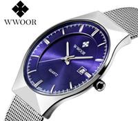 automatic calendar clock - top luxury brand WWOOR watch men date quartz watch stainless steel mesh strap ultra thin dial clock relogio masculino