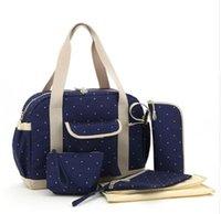 Wholesale Fashion polka dot baby diaper bag set waterproof women tote bag mom Messenger travel nappy bag multifunction stroller diaper bag