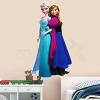 Wholesale amp Hot cartoon movie Elsa sister white snow Queen cartoon princess D stickers kids room wall decals kids label home decorations
