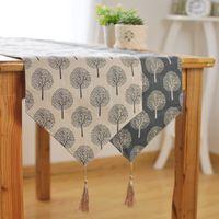 Wholesale 2 Colors Linen table runner Kung Fu tea bed seats flag Zen tea towels trees pattern table