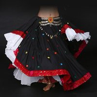 ats skirts - Top Quality Tribal Belly Dance Skirts ATS Printed Cotton Spanish Flamenco Clothing10 Meters Gypsy Cotton Long Full Circel Skirt