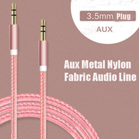 Wholesale Nylon aluminum alloy metal AUX car audio line mm car speaker Public audio connection line AUX metal nylon fabric audio line