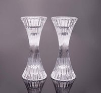 Wholesale Dia7 H13cm European transparent crystal glass candlestick romantic dinner Wedding Party Hoome Decoration