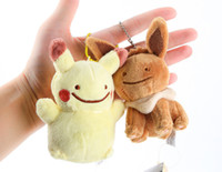 Wholesale 11styles Cute Poke mon Figures Plush Pendants toys Pocket Monster mini plush dolls Eevee Glaceon Flareon Bulbasaur Charmander Cartoon gifts