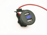 al por mayor voltímetro del coche 12v-Impermeable 12V 4.2A cargador doble del USB del cargador voltaje del voltaje del voltaje del oscilador del interruptor del eje de balancín