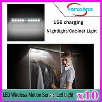Wholesale 10pcs LED Wireless PIR Auto Motion Sensor Light Intelligent Portable infrared Induction Lamp Night Lights for Cabinet Hotel Closet YX DD