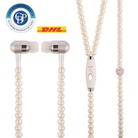 apple ear plugs - Fashion Bling Diamond Pearl Necklace Chain Earphone mm Plug In ear Hi Fi Wired Stereo headset With Mic For Smart Phone Free DHL