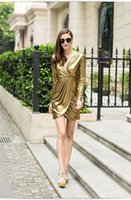 Wholesale 2016 Fall gold OL temperament slim workdress sexy V neck dress applicable to a variety of occasions dresses