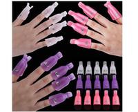 Wholesale 10pcs set New Arrival Plastic Nail Art Equipment Soak Off Cap Clip UV Gel Polish Remover Wrap Tool opp package