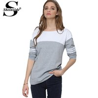 best womens white shirts - Sheinside Autumn Latest Basic Simple Tees Womens Best Shirts White Round Neck Long Sleeve Grey White Color Block T Shirt