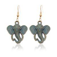 antique drop earrings - 2016 Bohemian Ancient Ethnic Vintage Antique Bronze Green Drop Earrings Gipsy Punk Elephant Dangle Earrings for Women Jewelry Accessories