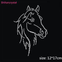 Wholesale 30pcs Horse Head Rhinestone Transfers Iron On Hotfix Patterns For Garment Accessory Custom Design Available
