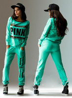 Wholesale 2016 New Fashion Women s Sport Suit Letter Pink Print Tracksuit Long sleeve Casual Sport Costumes Mujer Crop Top And Pants Set