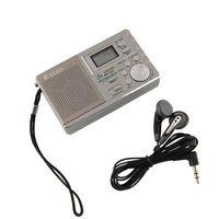 Wholesale Portable AM FM Radio mini Speaker approx cm length earphone Alarm Clock LCD Digital dispaly travel