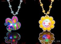 bead silver sterling supply - Hot flash light emitting luminous necklace pendant necklace beads night market stall supply children s small toys