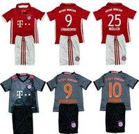Wholesale Fast Uniforms Kit Youth Kids Soccer Jersey Lewandowski Muller Robben Thiago Drak Grey Away Jerseys