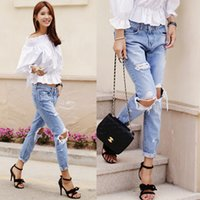 acid wash high - Sexy Ripped Jeans for Women High Waist Hole Jeans Hollow Out Jeans Fashion Long Jean Pants Casual Women Pencil Jeans Wash acid women Jean